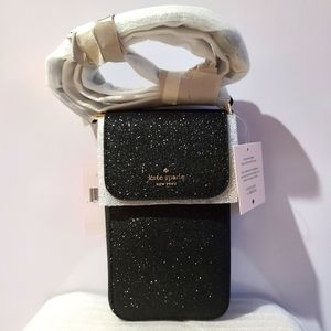 lola glitter north south flap phone crossbody